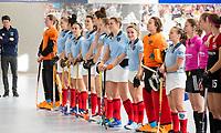 HAMBURG  (Ger) - Rotweiss Wettingen (Sui)  v  MHC Laren (Ned).  foto: line up Laren  , Eurohockey Indoor  Club Cup 2019 Women . WORLDSPORTPICS COPYRIGHT  KOEN SUYK