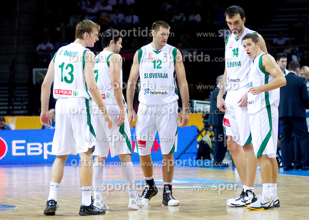 Zoran Dragic of Slovenia, Saso Ozbolt of Slovenia, Goran Jagodnik of Slovenia, Mirza Begic of Slovenia and Jaka Lakovic of Slovenia during basketball game between National basketball teams of Slovenia and Serbia in 7th place game of FIBA Europe Eurobasket Lithuania 2011, on September 17, 2011, in Arena Zalgirio, Kaunas, Lithuania. Slovenia defeated Serbia 72 - 68 and placed 7th. (Photo by Vid Ponikvar / Sportida)
