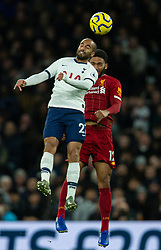 LONDON, ENGLAND - Saturday, January 11, 2020: Liverpool's Joe Gomez (R) challenges for a header with Tottenham Hotspur's Lucas Moura during the FA Premier League match between Tottenham Hotspur FC and Liverpool FC at the Tottenham Hotspur Stadium. (Pic by David Rawcliffe/Propaganda)