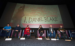 Pictured; Lewis Akers, Bill Scott, Sasha Gallagher, Jeane Fereeman, Paul Laverty and Mike Valance   <br /> <br /> The Ken Loach film 'I, Daniel Blake' was given a special screening in Edinburgh today in front of  anti-austerity campaigners. The event was arranged by William Black who was joined by the screenwriter, Paul Laverty, Minister for Social Security in Scotland Jeane Freeman, Lewis Akers, member of the Scottish Youth Parliament for Dunfermline, Mikle Valance, ACE and Action Against Poverty, Bill Scott, Inclusion Scotland with Sasha Gallagher afrom Disability History Scotland acting as co-ordinater of the Q&amp;A. <br /> <br /> (c) Ger Harley | Edinburgh Elite media