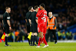 Raheem Sterling of Liverpool looks dejected after Chelsea win 1-0 (2-1 on aggregate) after extra time to progress to the Final - Photo mandatory by-line: Rogan Thomson/JMP - 07966 386802 - 27/01/2015 - SPORT - FOOTBALL - London, England - Stamford Bridge - Chelsea v Liverpool - Capital One Cup Semi-Final Second Leg.