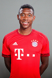 16.07.2015, Saebener Strasse, Muenchen, GER, 1. FBL, FC Bayern Muenchen, Fototermin, im Bild David Alaba #27 (FC Bayern Muenchen) // during the official Team and Portrait Photoshoot of German Bundesliga Club FC Bayern Munich at the Saebener Strasse in Muenchen, Germany on 2015/07/16. EXPA Pictures © 2015, PhotoCredit: EXPA/ Eibner-Pressefoto/ Kolbert<br /> <br /> *****ATTENTION - OUT of GER*****