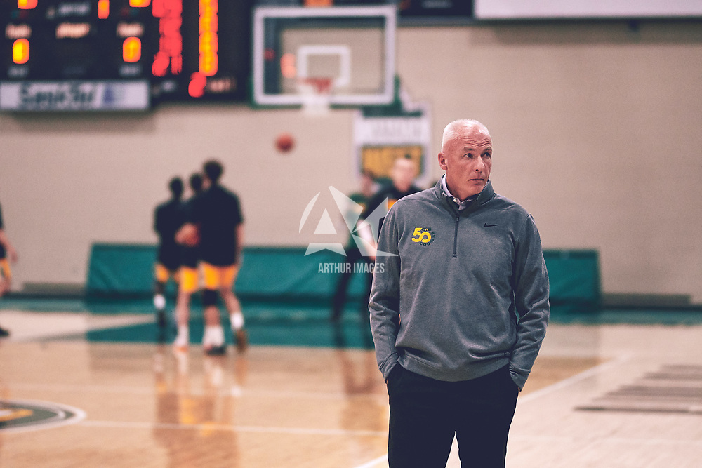 Men's basketball Head Coach, Steve Burrows  during the Men's Basketball Home Game on Fri Nov 02 at Centre for Kinesiology,Health and Sport. Credit: Arthur Ward/Arthur Images