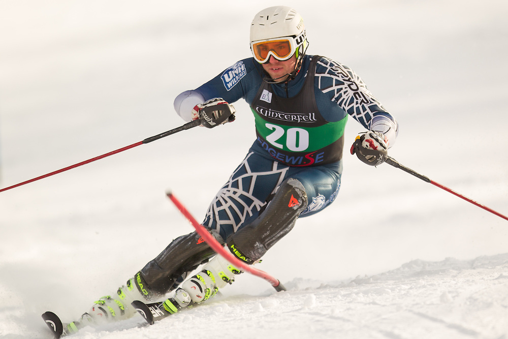 Geoffrey Bonewald of the University of New Hampshire, skis during the second  run of the men's slalom at the University of Vermont Carnival at Burke Mountain on January 26, 2014 in East Burke, VT. (Dustin Satloff/EISA)