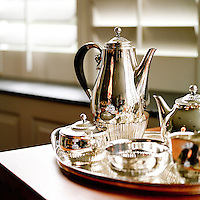Silver Tea Set at home.