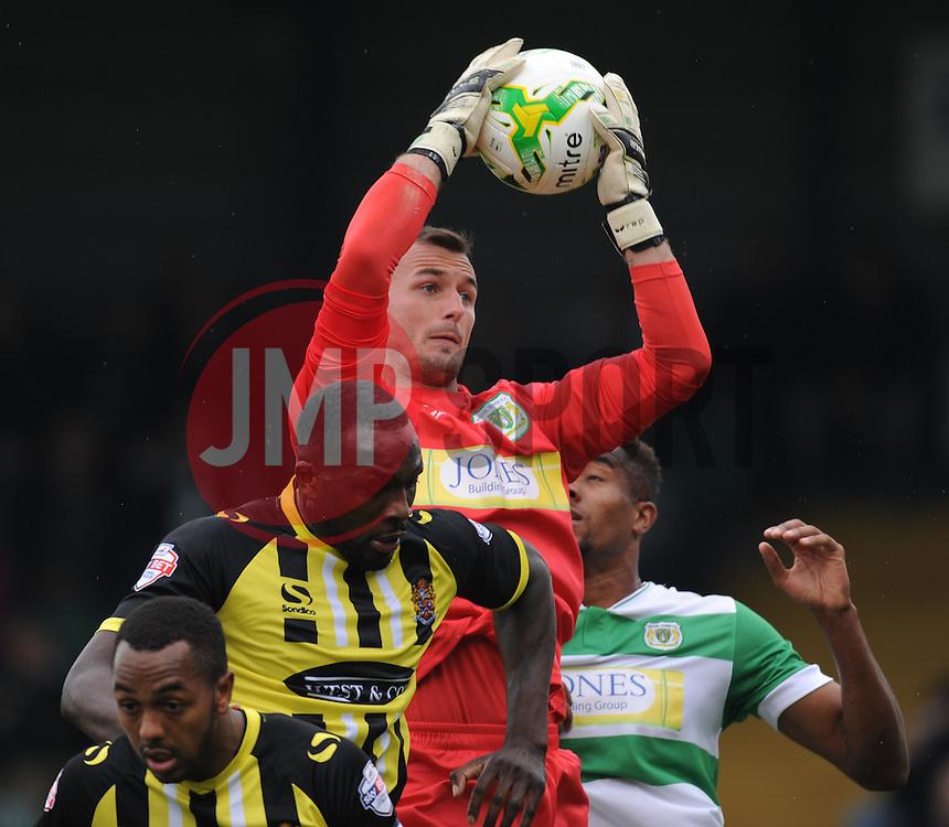 Yeovil goal-keeper Artur Krysiak collects a corner.  - Mandatory byline: Alex Davidson/JMP - 07966 386802 - 10/10/2015 - FOOTBALL - Huish Park - Yeovil, England - Yeovil v Dagenham - Sky Bet League Two