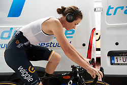 Amy Cure (AUS) warms up for Giro Rosa 2018 - Stage 7, a 15 km individual time trial from Lanzada to Alpe Gera di Campo Moro, Italy on July 12, 2018. Photo by Sean Robinson/velofocus.com