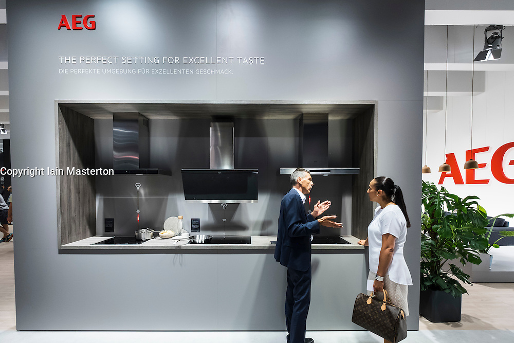 Visitor shown modern AEG cookers at at 2016  IFA (Internationale Funkausstellung Berlin), Berlin, Germany