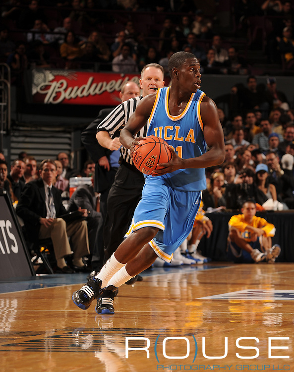 UCLA guard Jrue Holiday #21 with the ball as Michigan beat #4 UCLA 55-52 on Thursday November 20, 2008 to advance to the Championship of the 2K Sports Classic at Madison Square Garden in New York.