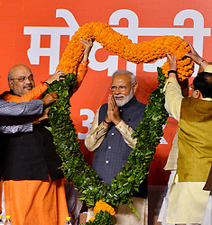 May 23, 2019, New Delhi, India: Prime Minister NARENDRA MODI (C) celebrates victory at the Bharatiya Janata Party (BJP) headquarters. Indian Prime Minister Narendra Modi announced his Bharatiya Janata Party's victory in the just-concluded 17th general elections on Thursday. (Credit Image: © Xinhua via ZUMA Wire)
