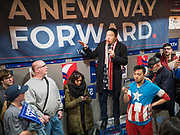 12 DECEMBER 2019 - DES MOINES, IOWA: ANDREW YANG speaks to supporters at the opening of his campaign's office in Ames, IA. Yang, an entrepreneur, is running for the Democratic nomination for the US Presidency in 2020. He brought bus tour to Ames, IA, Thursday. Iowa hosts the the first election event of the presidential election cycle. The Iowa Caucuses will be on Feb. 3, 2020.         PHOTO BY JACK KURTZ
