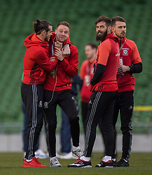 DUBLIN, REPUBLIC OF IRELAND - Friday, March 24, 2017: Wales' Gareth Bale and Chris Gunter react before the 2018 FIFA World Cup Qualifying Group D match against Republic of Ireland at the Aviva Stadium. (Pic by Peter Powell/Propaganda)