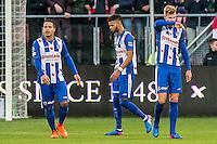 UTRECHT - FC Utrecht - SC Heerenveen , Voetbal , Eredivisie , Seizoen 2016/2017 , Stadion Galgenwaard , 05-02-2017 ,   SC Heerenveen speler Lucas Bijker (l) SC Heerenveen speler Jeremiah Jerry St Juste (m) en SC Heerenveen speler Joost van Aken (r) balen van de 1-0 tegen