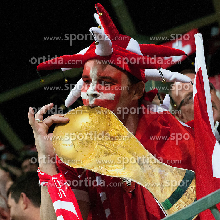 Fan of Switzerland with trophy during qualification football match for World Cup 2014 in Brazil between national team of Slovenia and Switzerland, on September 7, 2012 in Ljubljana, Slovenia. (Photo by Matic Klansek Velej / Sportida.com)