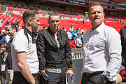 Forest Green Rovers assistant manager, Scott Lindsey, Forest Green Rovers Chairman Dale Vince and Forest Green Rovers manager, Mark Cooper during the Vanarama National League Play Off Final match between Tranmere Rovers and Forest Green Rovers at Wembley Stadium, London, England on 14 May 2017. Photo by Shane Healey.