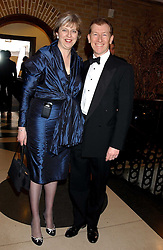 THERESA MAY MP and her husband PHILIP MAY at the 2005 Whitbread Book Awards 2005 held at The Brewery, Chiswell Street, London EC1 on 24th January 2006. The winner of the 2005 Book of the Year was Hilary Spurling for her biography 'Matisse the Master'.<br />