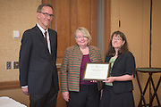 From left: Joseph Shields, Vice President for Research & Creative Activity and Dean of Ohio University's Graduate College along with Pam Benoit, Executive Vice President and Provost, congratulate Lauren McMills for being a finalist for the Presidential Teacher Award during the 2016 Faculty Awards Recognition Ceremony held at Baker Center on Tuesday, September 6, 2016.