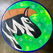 BAREFOOT. Painted stools.