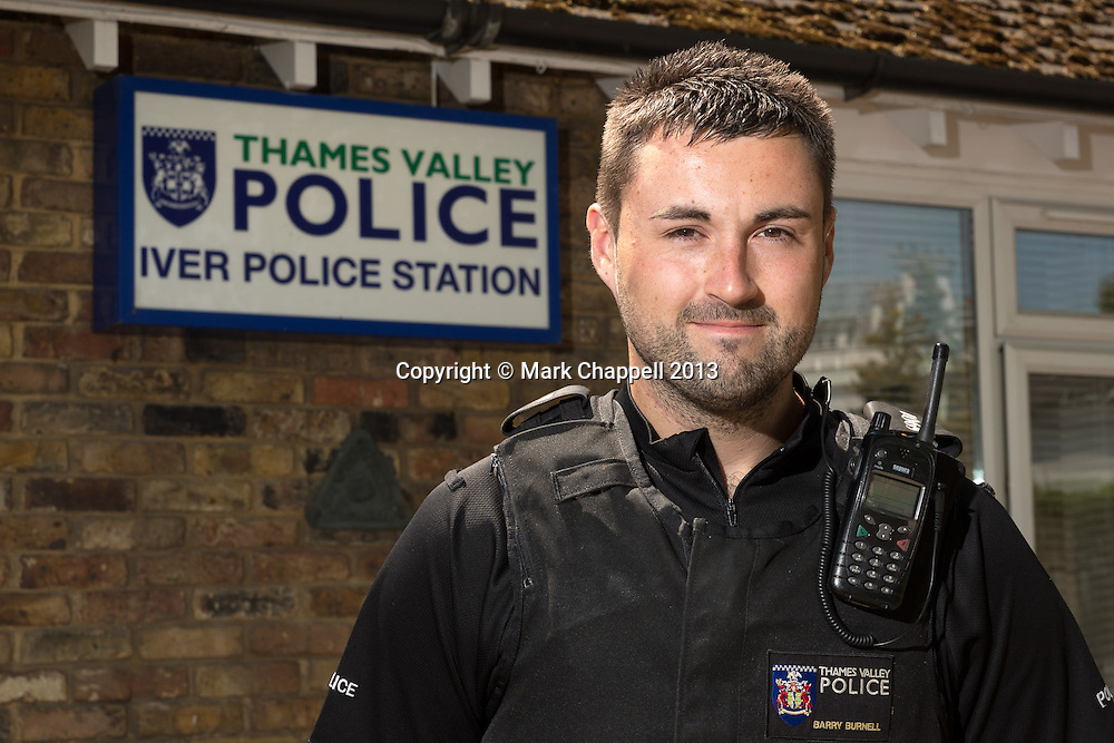 Portrait of PC Barry Burnell who has been named Thames Valley Police Community Police Officer of the Year for Buckinghamshire and overall winner in the 2013 Community Policing Awards, which are voted for by members of the public. Wednesday 05  June  2013.  Iver, UK.<br /> <br /> Photo Credit: Mark Chappell<br /> <br /> &copy; Mark Chappell 2013. <br /> All rights reserved, see instructions.