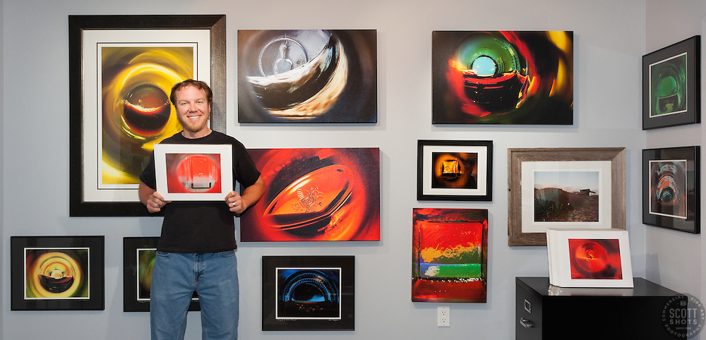 "Photographer Scott Thompson and his prints from the ""Beauty at the Bottom"" series.  www.ScottShotsPhoto.com"