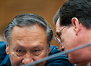 """Sep 24, 2010 - Washington, District of Columbia, U.S., - Arturo Rodriguez, president of United Farm Workers, speaks with Political satirist and T.V. host STEPHEN COLBERT before his  testimony on Capitol Hill Friday about the conditions facing America's undocumented farm workers. The host of """"The Colbert Report"""" testified before a House Judiciary subcommittee to bring attention to the workers' hardships. (Credit Image: © Pete Marovich/ZUMA Press)"""