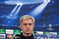 Chelsea's coach Jose Mourinho from Portugal during a press conference ahead of Tuesday's Champions League, semifinal, first leg, soccer match against Atletico Madrid, at the Vicente Calderon stadium, in Madrid, Spain, April 21, 2014. (ALTERPHOTOS/Victor Blanco)