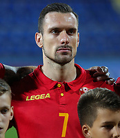 PODGORICA, MONTENEGRO - JUNE 07: Marko Vesovic of Montenegro before the 2020 UEFA European Championships group A qualifying match between Montenegro and Kosovo at Podgorica City Stadium on June 7, 2019 in Podgorica, Montenegro MB Media