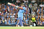Shikhar Dhawan pulls. T20 international, Australia v India. Sydney Cricket Ground, NSW, Australia, 25 November 2018. Copyright Image: David Neilson / www.photosport.nz