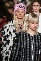 Li Xiao Xing walks the runway wearing Alexander Wang Fall 2016 during New York Fashion Week on February 13, 2016