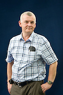 Ken MacLeod, Scottish science fiction author. Edinburgh International Book Festival, Edinburgh, Scotland. Edinburgh is the inaugural UNESCO City of Literature.