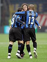"""L'esultanza di Hernan Crespo (Inter) dopo il gol dell'1-1 abbracciato da Douglas Sisenando Maicon (Inter), Scherrer Cabelino Andrade Maxwell<br /> Hernan Crespo (Inter) celebrates with Douglas Sisenando Maicon (Inter), Scherrer Cabelino Andrade Maxwell (Inter) after scoring goal<br /> Italian """"Serie A"""" 2006-07<br /> 28 Feb 2007 (Match Day 26)<br /> Inter-Udinese (1-1)<br /> """"Giuseppe Meazza""""-Stadium-Milano-Italy<br /> Photographer: Luca Pagliaricci INSIDE"""