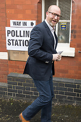 © Licensed to London News Pictures . 08/06/2017. Congleton, UK. UKIP leader Paul Nuttall arrives to vote in the general election at a polling station in Rood Lane Methodist Church. Photo credit: Joel Goodman/LNP