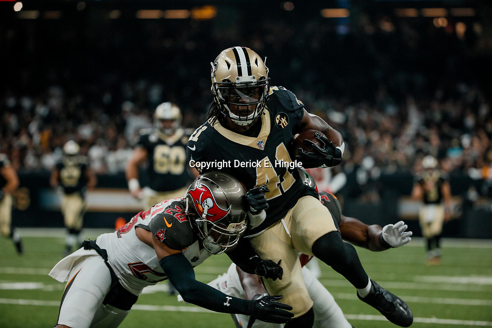 Sep 9, 2018; New Orleans, LA, USA; New Orleans Saints running back Alvin Kamara (41) is tackled by Tampa Bay Buccaneers cornerback Vernon Hargreaves III (28) during the first quarter of a game at the Mercedes-Benz Superdome. Mandatory Credit: Derick E. Hingle-USA TODAY Sports