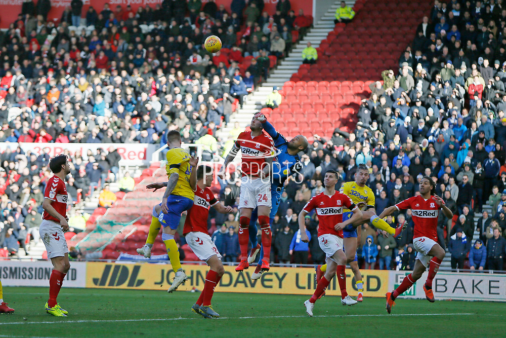 Middlesbrough goalkeeper Darren Randolph (23)  punches clear during the EFL Sky Bet Championship match between Middlesbrough and Leeds United at the Riverside Stadium, Middlesbrough, England on 9 February 2019.