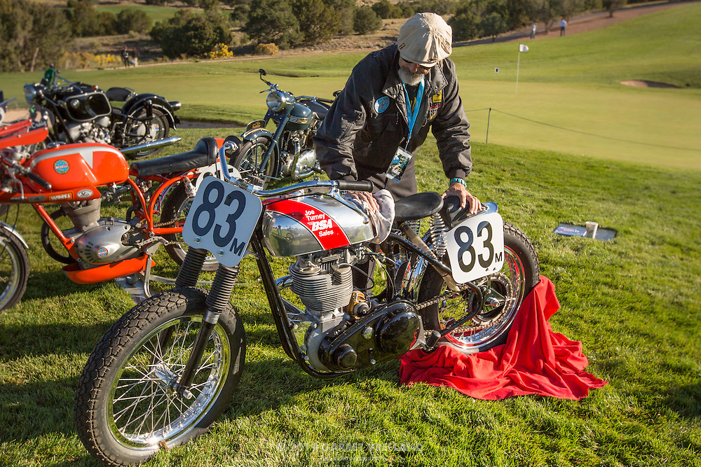 1956 BSA CB Gold Star and owner John C. Kynor, Sr. doing a last-minute touch-up, at the 2012 Santa Fe Concorso.
