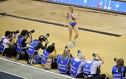 Greece's Paraskevi Papahristou blows a kiss towards the photographs after her final jump in the Women's Triple Jump during day three of the European Indoor Athletics Championships at the Emirates Arena, Glasgow.