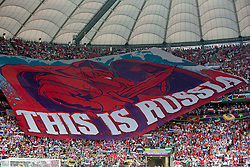 12-06-2012 VOETBAL: UEFA EURO 2012 DAY 5: POLEN OEKRAINE<br /> Supporters of Russia during the UEFA EURO 2012 group A match between Poland and Russia at The National Stadium<br /> ***NETHERLANDS ONLY***<br /> ©2012-FotoHoogendoorn.nl