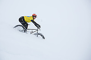 Some deep powder during stage 5 of the first Snow Epic, the Trübsee climb near Engelberg, in the heart of the Swiss Alps, Switzerland on the 17th January 2015<br /> <br /> Photo by:  Nick Muzik / Snow Epic / SPORTZPICS