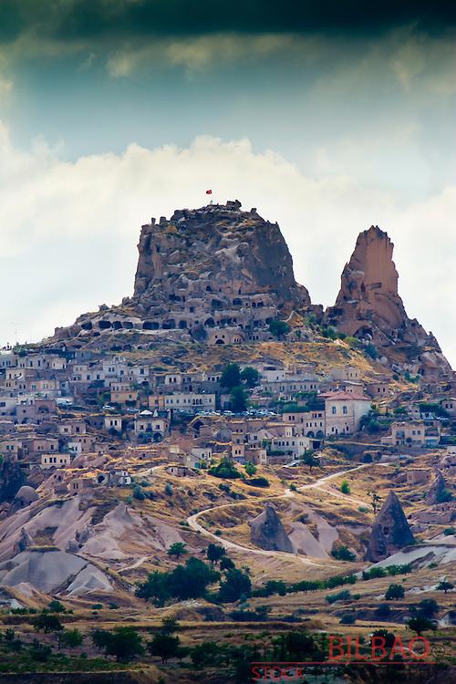 Uchisar village. Cappadocia Region. Nevsehir province. Turkey