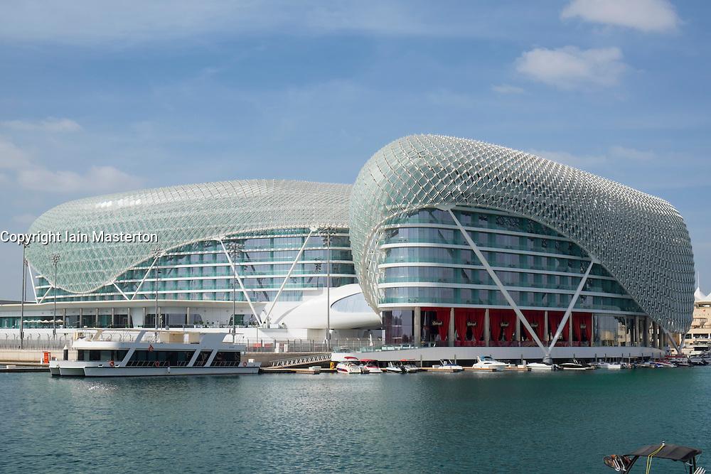 The Yas Viceroy Hotel at Yas Marina on Yas Island in Abu Dhabi United Arab Emirates