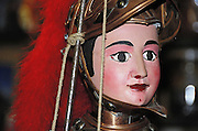 close up of one of the puppets knights by Mimmo Cuticchio..dettaglio di pupo siciliano creato da Cuticchio