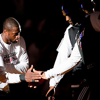 06 March 2011: Miami Heat shooting guard Dwyane Wade (3) and Miami Heat small forward LeBron James (6) are seen during the players introduction prior to the Chicago Bulls 87-86 victory over the Miami Heat at the AmericanAirlines Arena, Miami, Florida, USA.