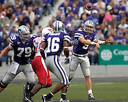 Kansas State quarterback Dylan Meier (9) throws the ball down field to Wildcat wide receiver Yamon Figurs (16) in the first quarter at Bill Snyder Family Stadium in Manhattan, Kansas, September 2, 2006.  The Wildcats beat the Redbirds 24-23.