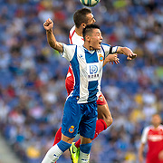 BARCELONA, SPAIN - August 18:  Wu Lei #7 of Espanyol is challenged by Joan Jordan #24 of Sevilla during the Espanyol V  Sevilla FC, La Liga regular season match at RCDE Stadium on August 18th 2019 in Barcelona, Spain. (Photo by Tim Clayton/Corbis via Getty Images)