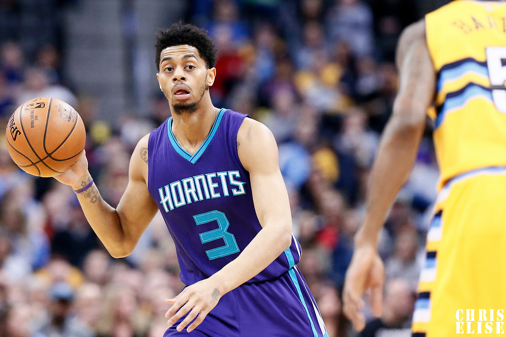 04 March 2017: Charlotte Hornets guard Jeremy Lamb (3) brings the ball up court during the Charlotte Hornets 112-102 victory over the Denver Nuggets, at the Pepsi Center, Denver, Colorado, USA.