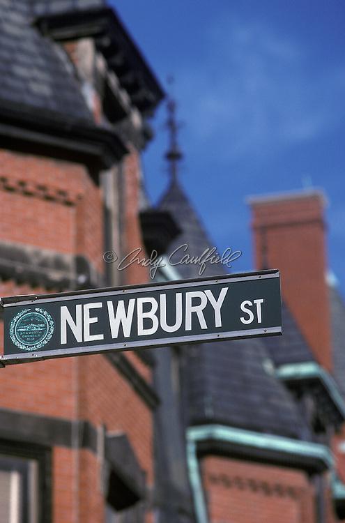 Newbury Street sign and brownstone buildings, Boston, MA.