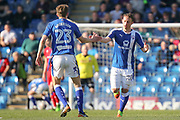 Celebrations as Chesterfield striker Kristian Dennis scores (1-3) during the EFL Sky Bet League 1 match between Chesterfield and Rochdale at the Proact stadium, Chesterfield, England on 25 March 2017. Photo by Aaron  Lupton.