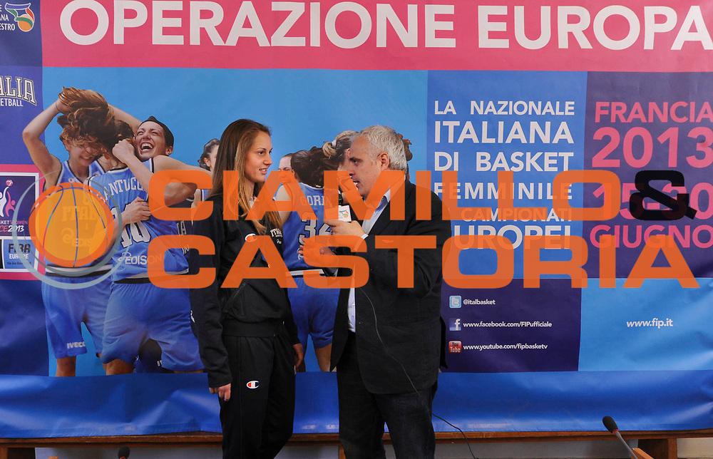 DESCRIZIONE : Roma Foro Italico Presentazione nuova maglia della Nazionale Italiana Femminile e incontro delle ragazze nazionali con Sara Errani e Roberta Vinci<br /> GIOCATORE : Maria Laterza Giancarlo Migliola <br /> CATEGORIA : conferenza stampa presentazione<br /> SQUADRA : Nazionale Italiana Donne Femminile FIT FIP<br /> EVENTO : FIP Nazionali 2013<br /> GARA : <br /> DATA : 13/05/2013 <br /> SPORT : Pallacanestro<br /> AUTORE : Agenzia Ciamillo-Castoria/N. Dalla Mura <br /> Galleria : FIP Nazionali 2013<br /> Fotonotizia : Roma Foro Italico Presentazione nuova maglia della Nazionale Italiana Femminile e incontro delle ragazze nazionali con Sara Errani e Roberta Vinc