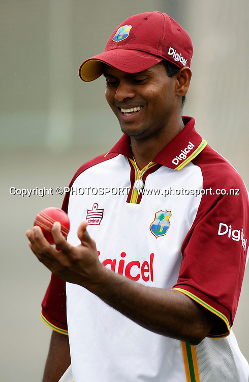 Shivnarine Chanderpaul at a West Indes Training session, Eden Park Outer Oval, Auckland. 2 December 2008. Photo: Andrew Cornaga/PHOTOSPORT
