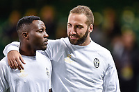 Gonzalo Higuain of Juventus and Kwadwo Asamoah of Juventus during the training session ahead the UEFA Champions League Final between Real Madrid and Juventus at the National Stadium of Wales, Cardiff, Wales on 2 June 2017. Photo by Giuseppe Maffia.<br /> Giuseppe Maffia/UK Sports Pics Ltd/Alterphotos